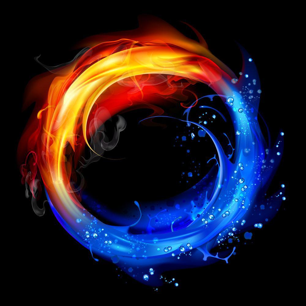 蓝色火焰素材白背景