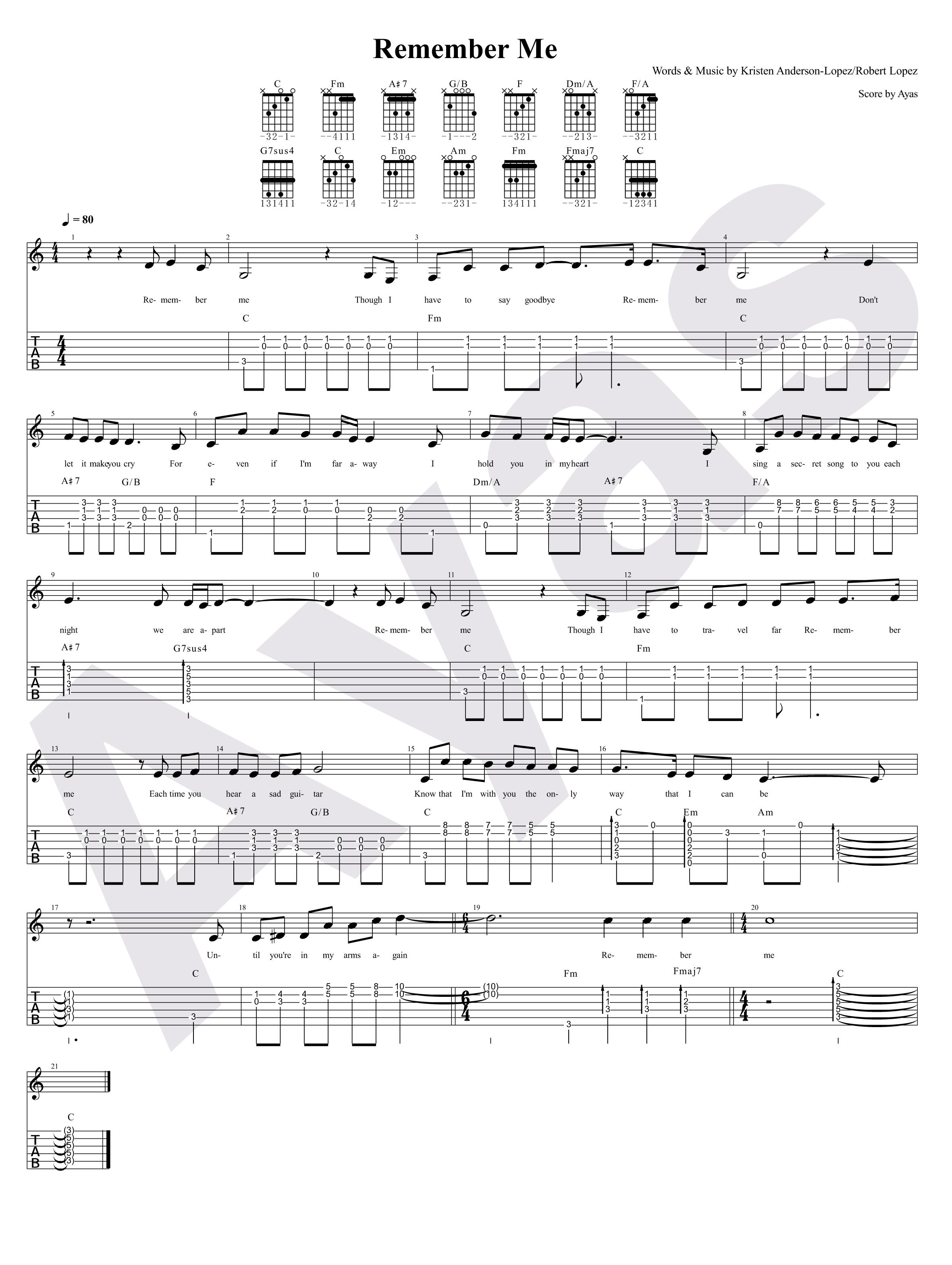 环游记 歌曲 Remember Me 的吉他和所想