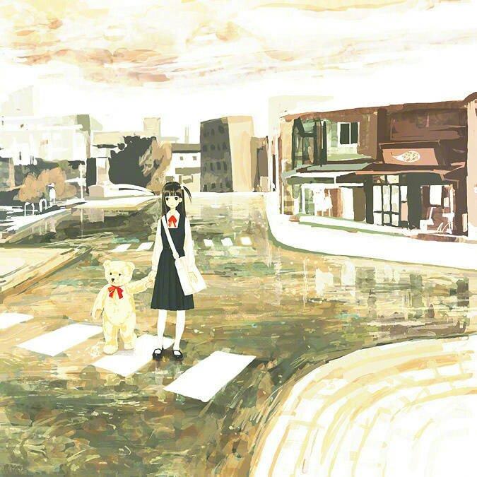 夜晚蜡笔手绘风景画