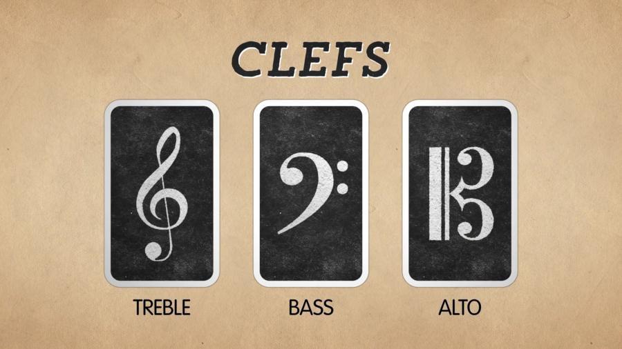 """最左边的叫做""""高音谱号"""",中间叫做""""低音谱号"""",最右边是""""中"""