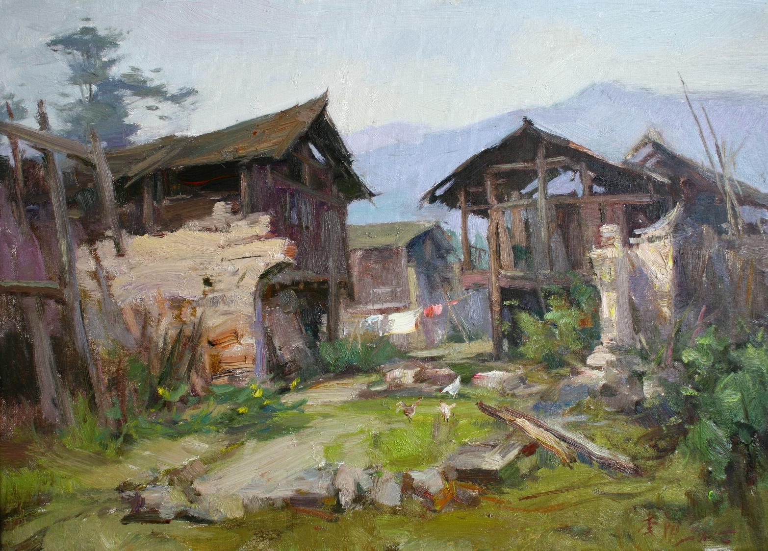 农村写生油画风景